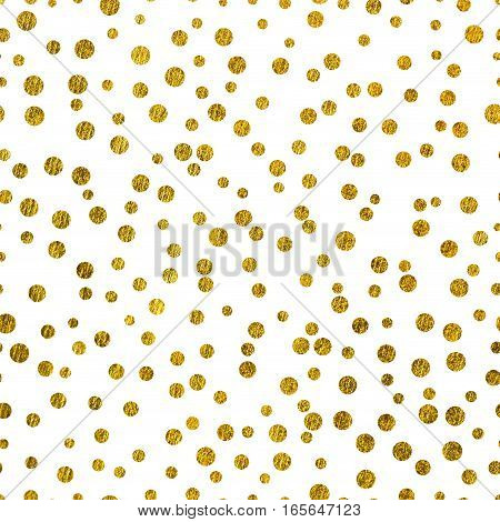 Scattered gold dots on a white background the Theme of love and Valentines Day Idea for greeting card Square orientation.