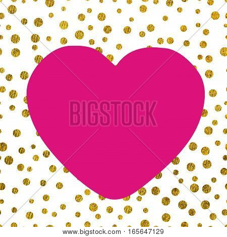 A large pink heart on the background of small gold dots of different size with copy space The Theme of love and Valentines Day Idea for greeting card
