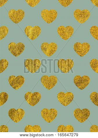 Golden hearts on a gray-blue background. The theme of love and Valentines Day. Beautiful festive shiny pattern. Rectangular vertical orientation