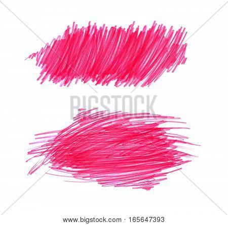 Bright red color shapes on white background for design hand draw
