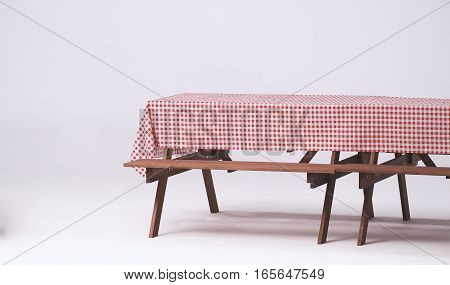 Wood Table And Red Napkin For Outdoor Party.