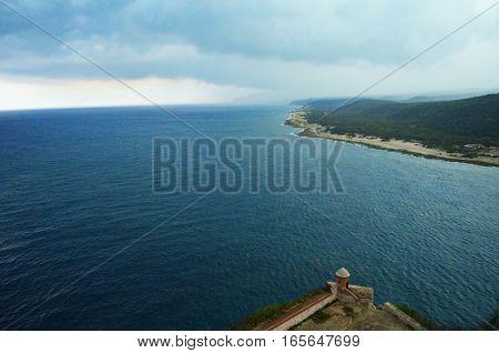 Sierra Maestra view from Castillo del Morro in Santiago de Cuba.