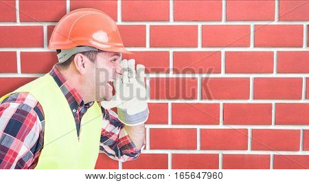Male Construction Worker  Screaming Out Loud