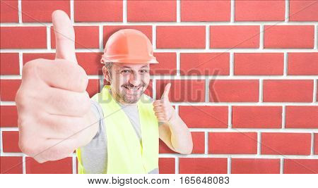 Joyful Engineer Or Builder Showing Thumbs Up