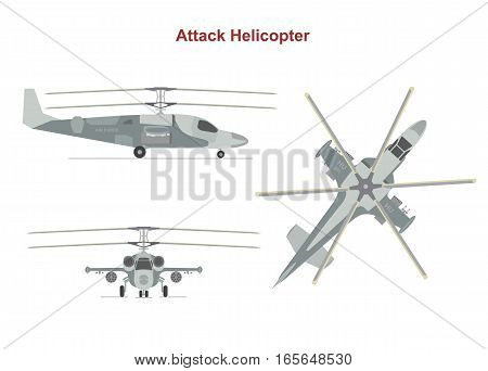 Military attack helicopter top, side, front view on white background. Flat style. Vector illustration.