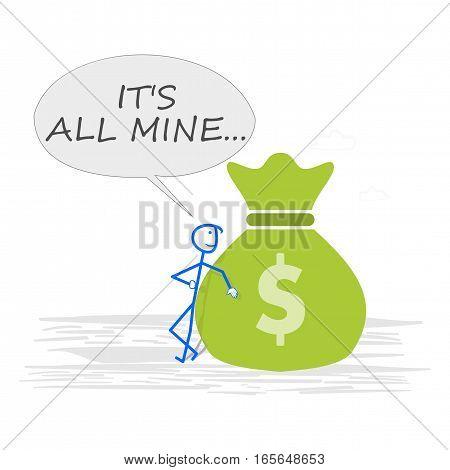 Rich man with money bag - concept illustration