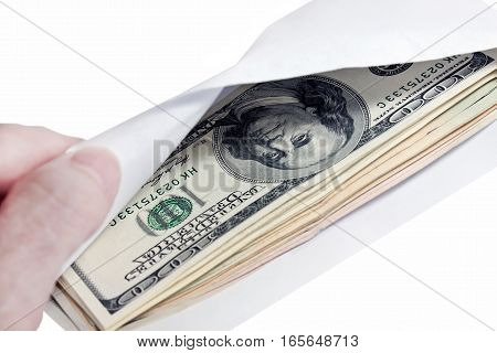 money in the envelope on a white background