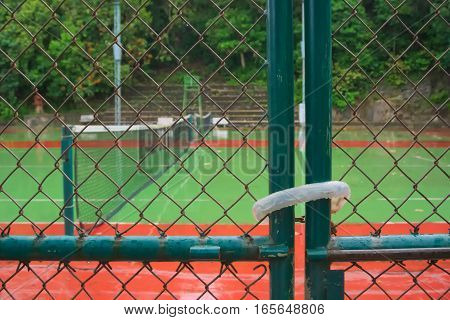 Tennis courts were closed in the rain.