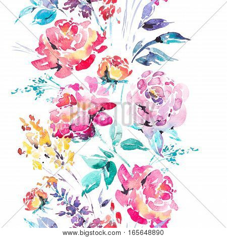 Abstract watercolor floral seamless border in a la prima style, red watercolor roses - flowers, twigs, leaves, buds. Hand painted vintage floral illustration isolated on white background
