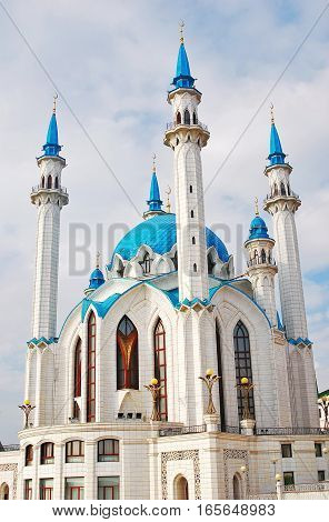 Kul Sharif Mosque, Kremlin in Kazan, Russia. This is a one of the largest mosques in Russia. UNESCO World Heritage Site.