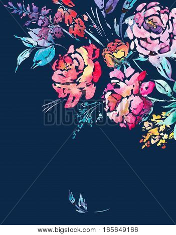 Abstract watercolor floral bouquet in a la prima style, red watercolor roses - flowers, twigs, leaves, buds. Hand painted vintage floral illustration isolated on navy blue background
