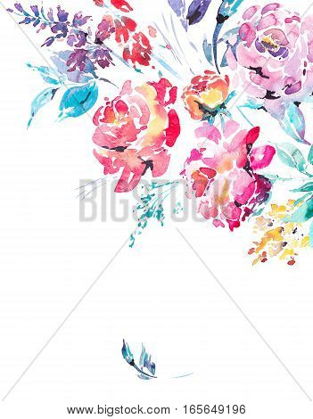 Abstract watercolor floral bouquet in a la prima style, red watercolor roses - flowers, twigs, leaves, buds. Hand painted vintage floral illustration isolated on white background