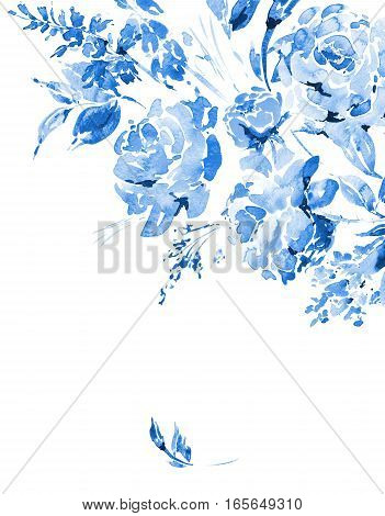 Blue watercolor floral bouquet in a la prima style, red watercolor roses - flowers, twigs, leaves, buds. Hand painted vintage floral illustration isolated on white background