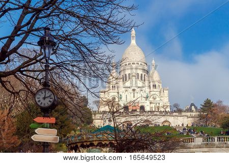 Building of the Sacre Coeur on Montmartre hill. Paris. France.