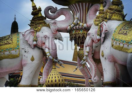 beautiful view of pink elephant statue next to Grand Palace in Bangkok Thailand as religion and culture Asia buddhist symbol and tourism and travel destination concept
