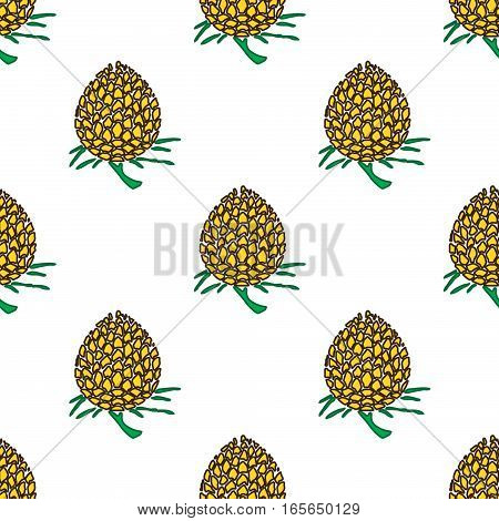 golden young pineapple on light background seamless pattern.