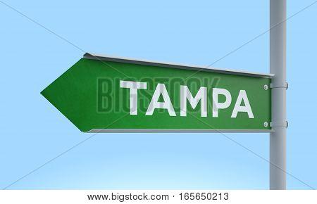 3d rendering Green signpost road information tampa