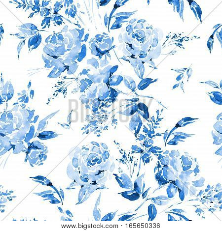 Blue watercolor floral seamless pattern in a la prima style, watercolor roses - flowers, twigs, leaves, buds. Hand painted vintage floral illustration isolated on white background