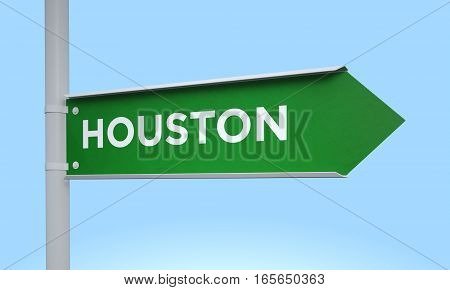 3d rendering Green signpost road information houston