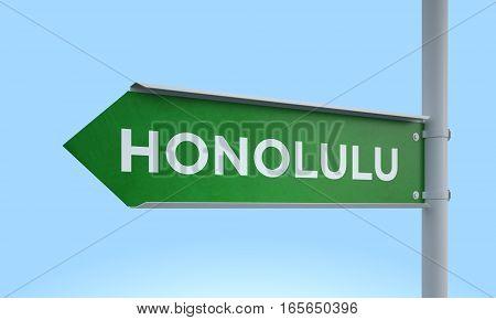 3d rendering Green signpost road information honolulu
