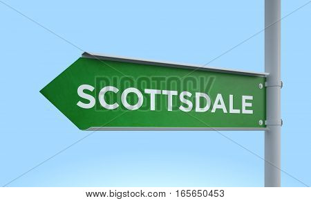 3d rendering Green signpost road information scottsdale