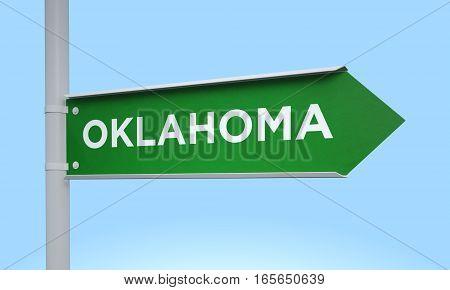 3d rendering Green signpost road information oklahoma