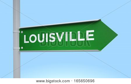 3d rendering Green signpost road information louisville