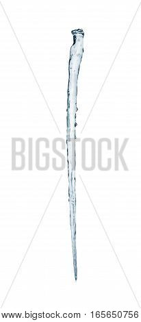 Icicles isolated on a white background. Frozen water.