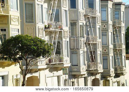 Window details of Painted ladies houses in San Francisco