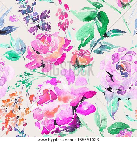 Abstract watercolor floral seamless pattern in a la prima style, pink watercolor roses - flowers, twigs, leaves, buds. Hand painted vintage floral illustration