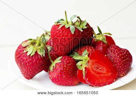fresh Strawberry in a bowl. Strawberry isolated on white background