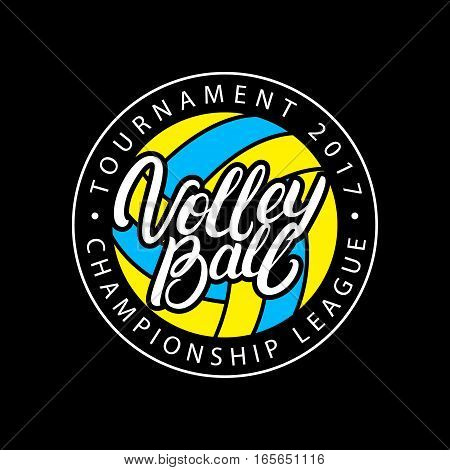 Volleyball hand written lettering logo, label, badge or emblem. Isolated on black background. Vector illustration.