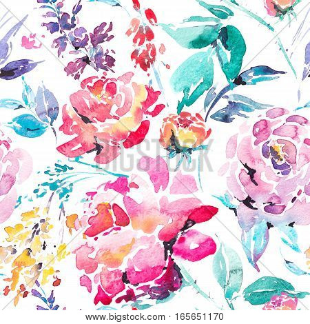 Abstract watercolor floral seamless pattern in a la prima style, red watercolor roses - flowers, twigs, leaves, buds. Hand painted vintage floral illustration isolated on white background