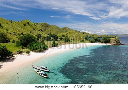 Indonesian beach no the Komodo national park in Indonesia