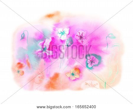 Abstract spring floral greeting card with bright watercolor stains and flowers