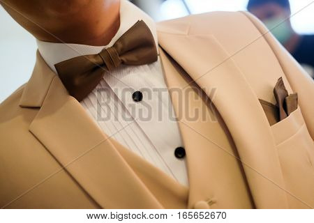Man in cream suit with brown bow tie and classic close up