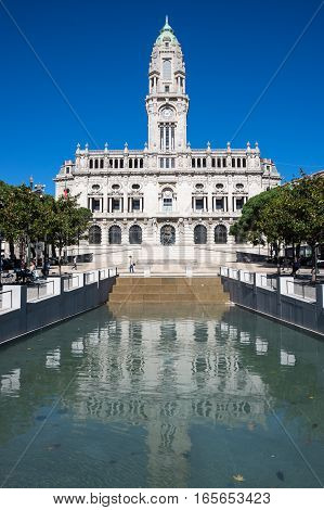 The City Hall of Porto located at the top of the Aliados Avenue Portugal