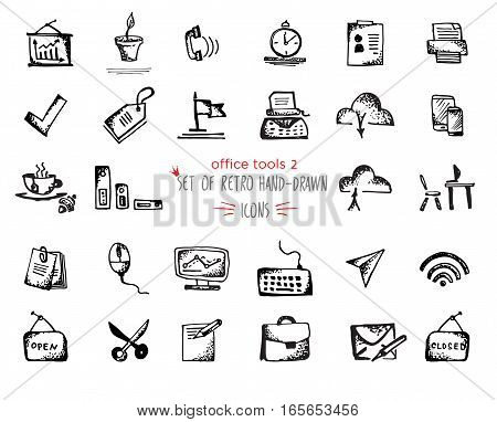 Hand-drawn sketch office tools icon set. Vector illustrations Black on white background
