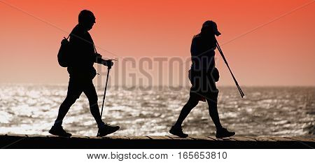 Silhouette of tourists walking along the shore at sunset tourism equipment