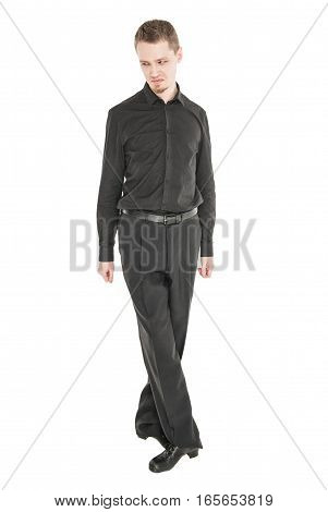 Young man looking with contempt isolated on white