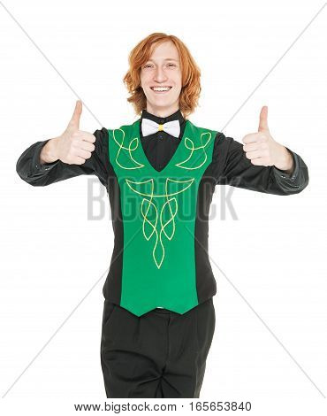 Young Man In Costume For Irish Dance Showing Thumbs Up