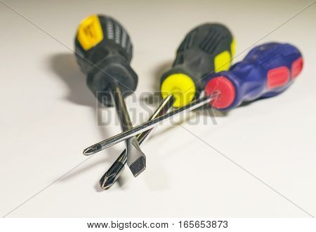 The screwdrivers isolated on the white background closeup