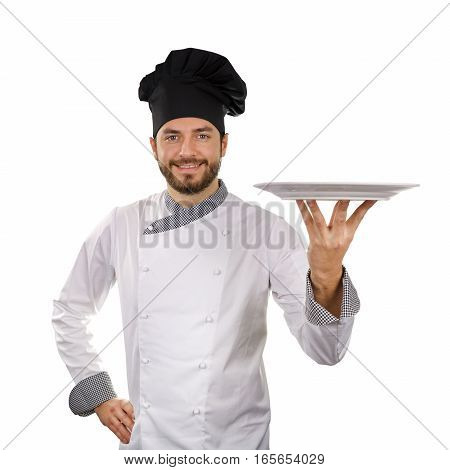 chef holding empty dish isolated on white background