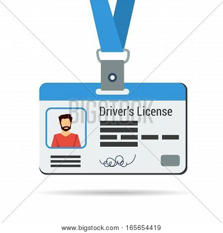 Vector illustration of driver license. Certificate with man on phot and blue ribbon isolated on white in flat style