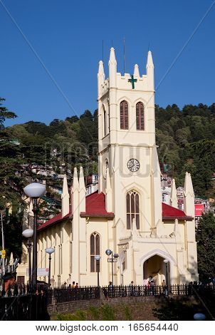 SHIMLA, INDIA. June 8, 2009: Christ Church in Shimla the Ridge Road, offering magnificent views of the mountain peaks of the earth. Shimla, Himachal Pradesh, India