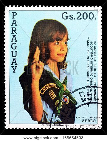 PARAGUAY - CIRCA 1983 : Cancelled postage stamp printed by Paraguay, that shows Scout.