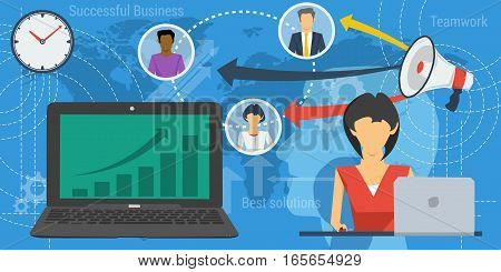 Vector Horizontal Banner on blue background of team work concept. Woman lady with computer, laptop with chart on screen and avatars of remote workers worldwide
