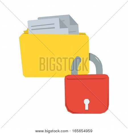 Vector concept data protection - Yellow folder protected by red padlock isolated on white in flat style. Web icon