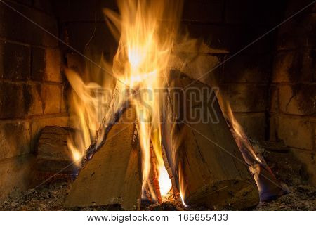 Burning firewood in the fireplace close up Foto