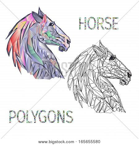 Horse head polygons coloured and outline vector illustration